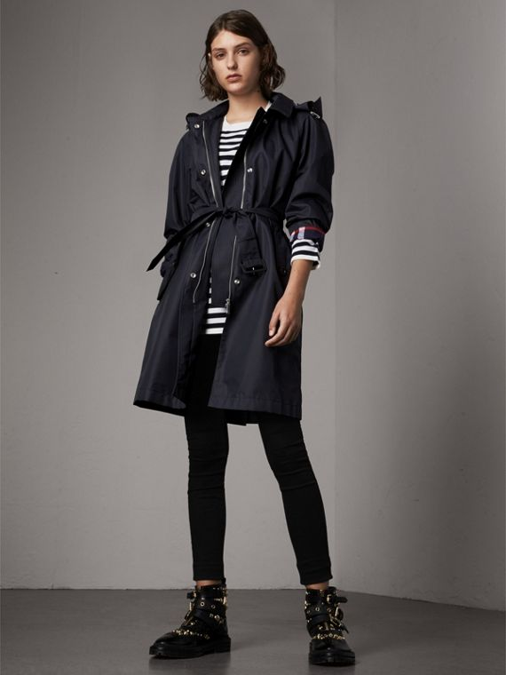 Detachable Hood Cotton Blend Car Coat in Navy