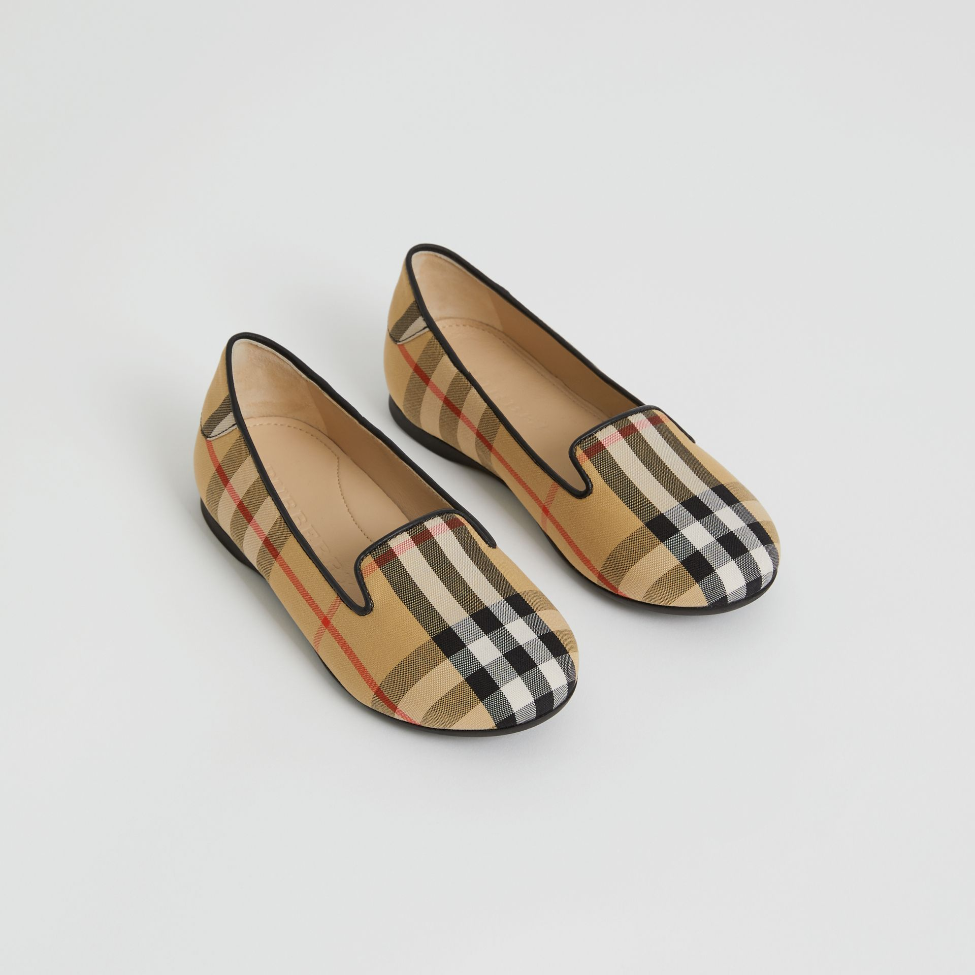 Chaussures sans lacets à motif Vintage check (Jaune Antique) | Burberry - photo de la galerie 0