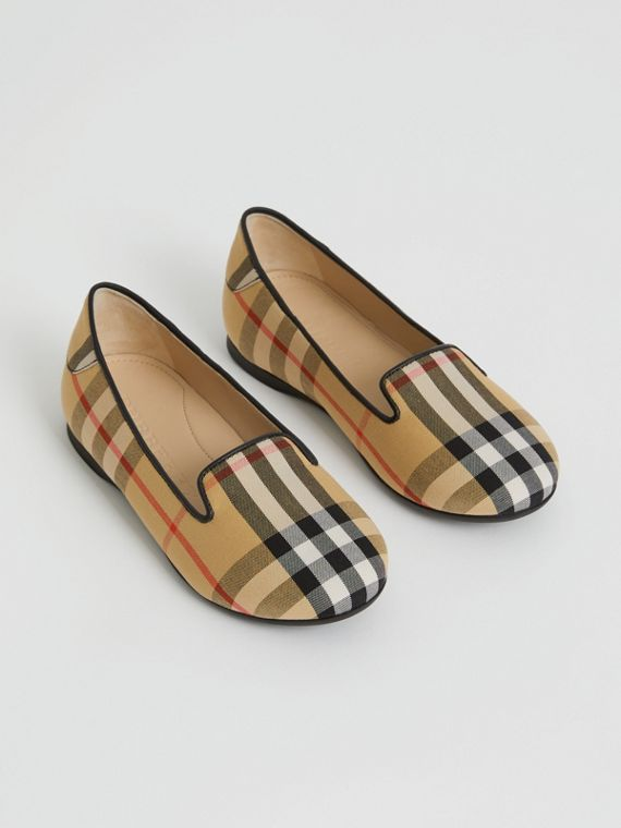 Slipper im Vintage Check-Design (Antikgelb)
