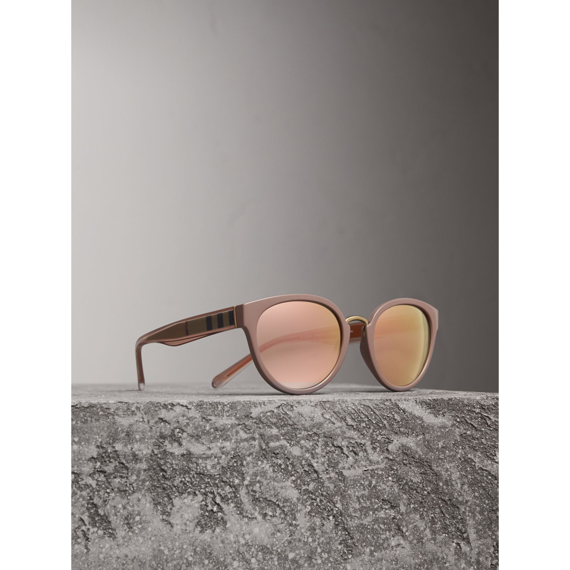 Check Detail Mirrored Cat-eye Frame Sunglasses in Nude - Women | Burberry United Kingdom - gallery image 0
