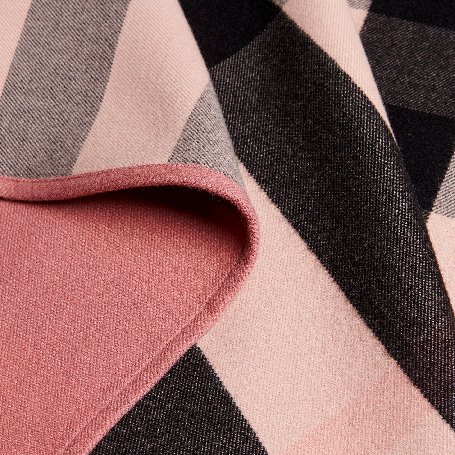 Reversible Check Merino Wool Poncho Ash Rose - gallery image 2