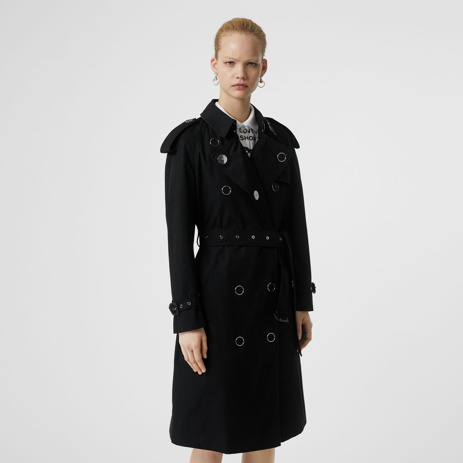 Press-stud Detail Cotton Gabardine Trench Coat in Black - Women | Burberry - gallery image 6