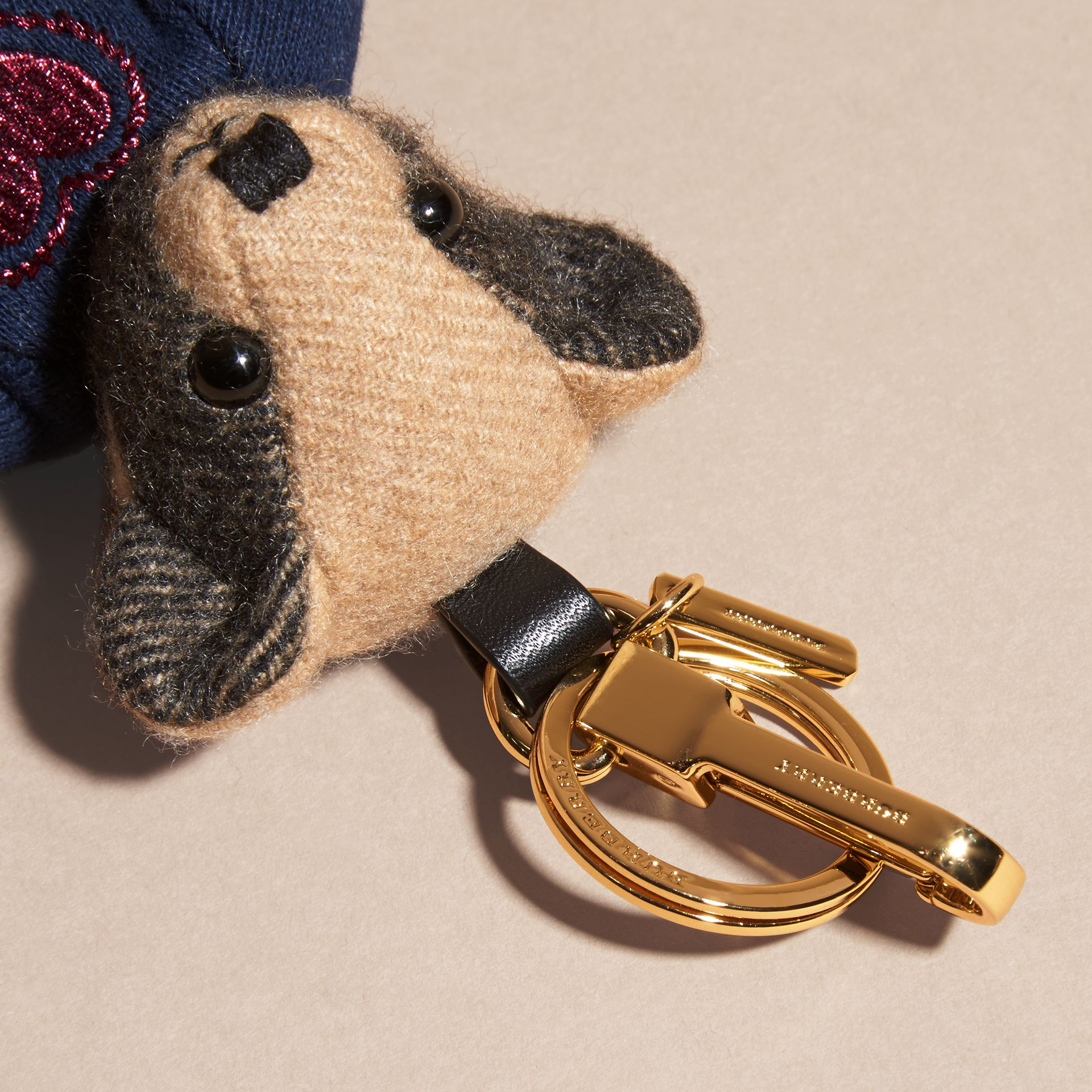Camel Thomas Bear Charm in Check Cashmere - gallery image 2
