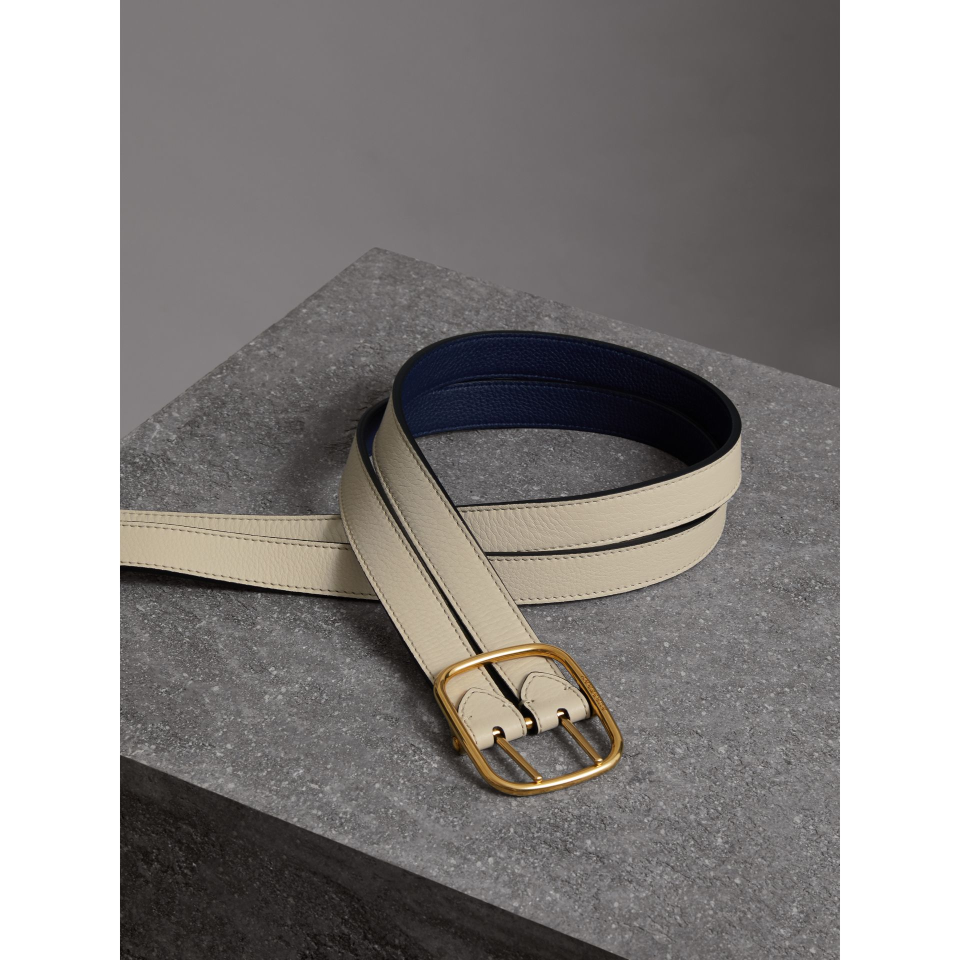 Double-strap Leather Belt in Limestone/regency Blue - Women | Burberry - gallery image 3