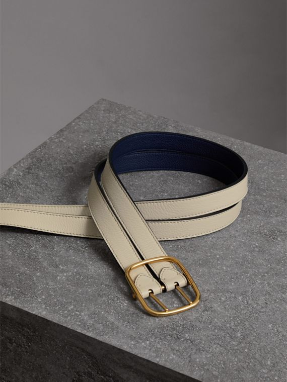Double-strap Leather Belt in Limestone/regency Blue - Women | Burberry - cell image 3