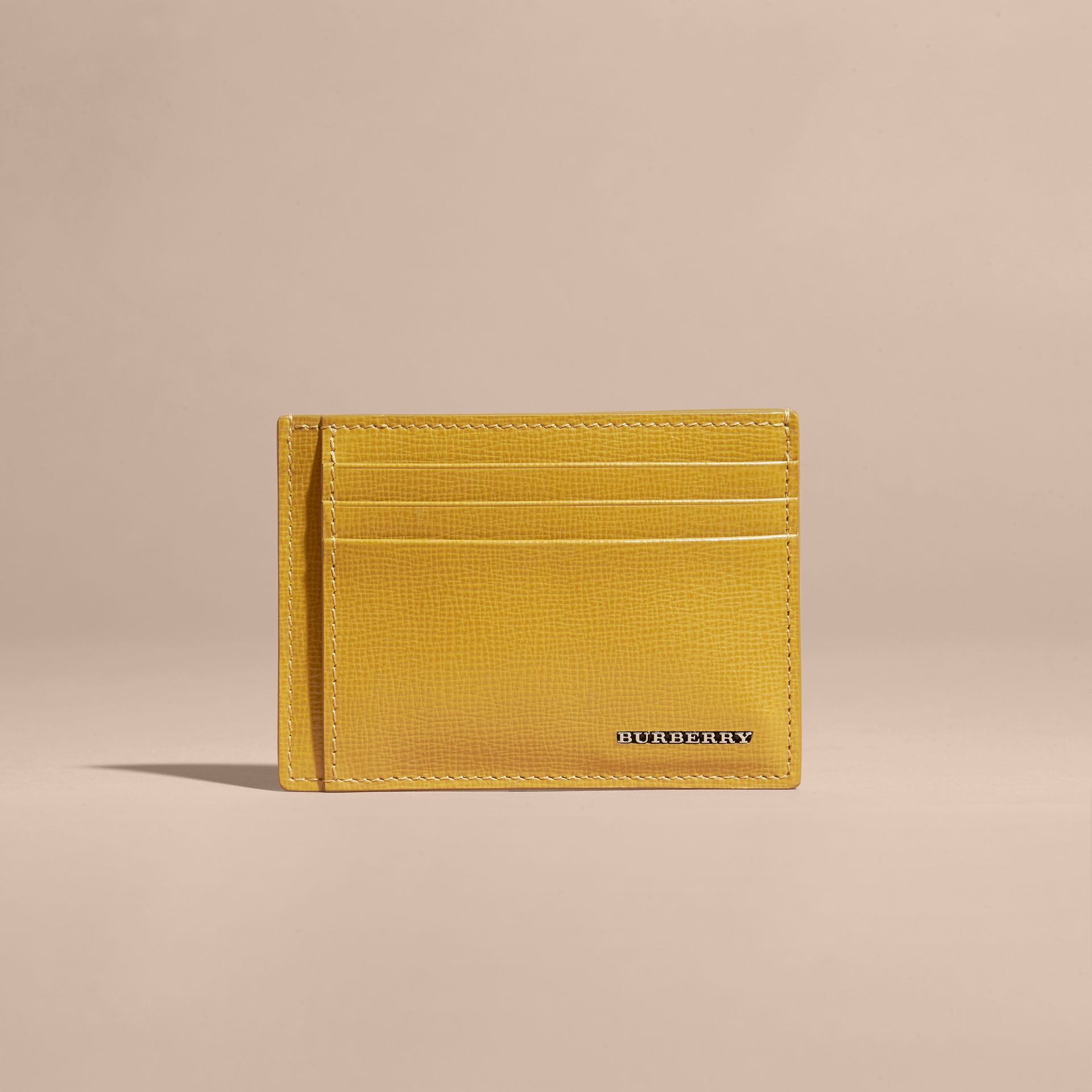 London Leather Money Clip Card Case Larch Yellow - gallery image 6