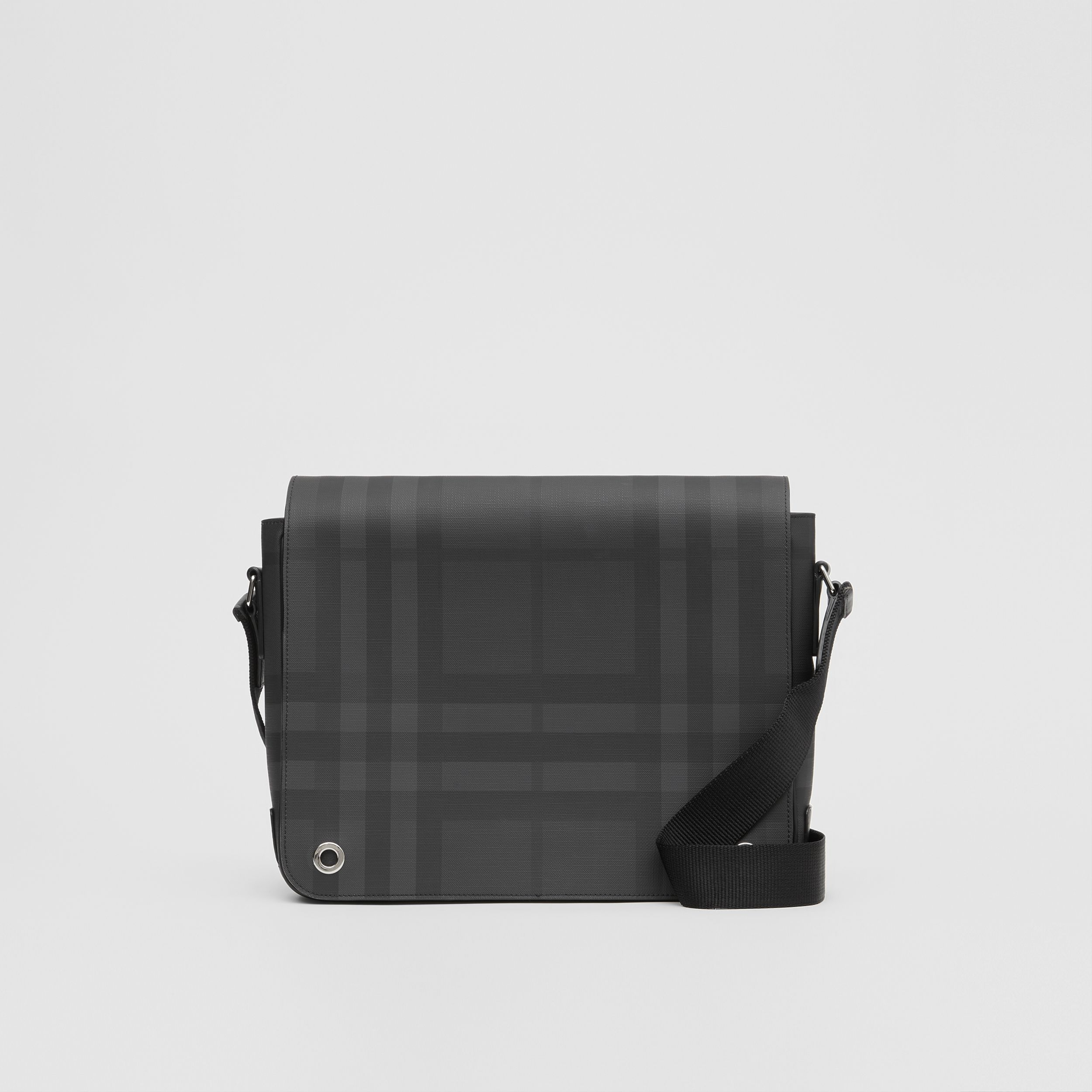 London Check and Leather Satchel in Dark Charcoal - Men | Burberry United Kingdom - 1