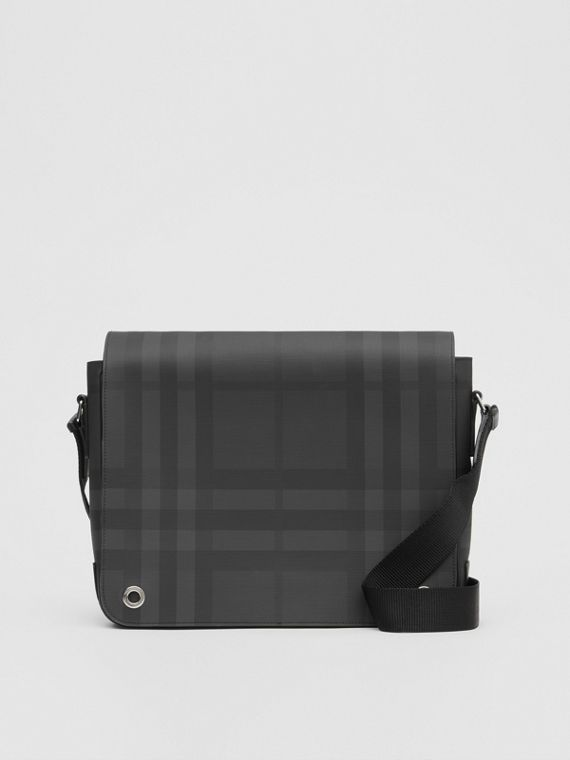 39d0d39cb5d4 London Check and Leather Satchel in Dark Charcoal