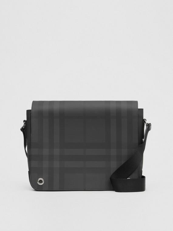 Bolsa satchel de couro e London Check (Grafite Escuro)