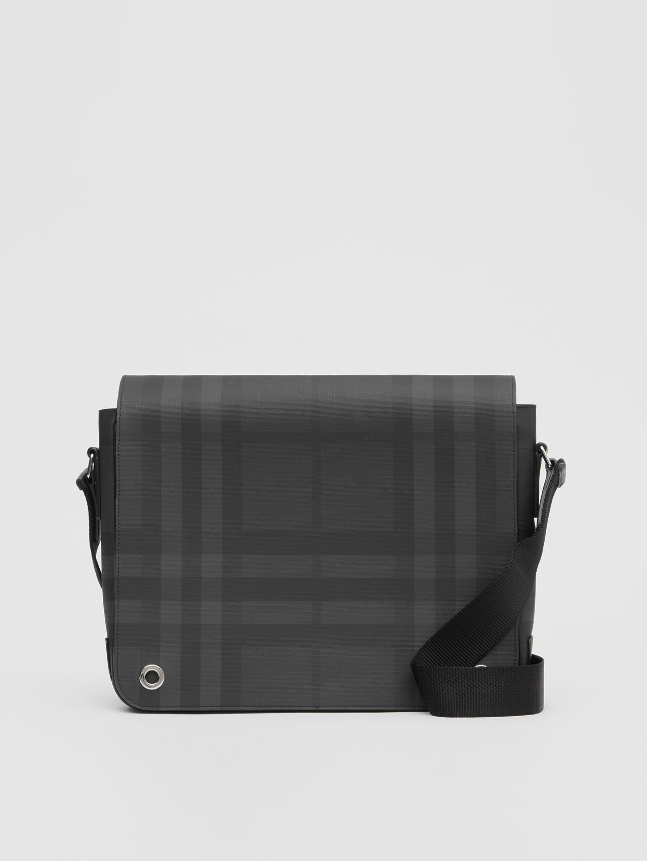London Check and Leather Satchel (Dark Charcoal)