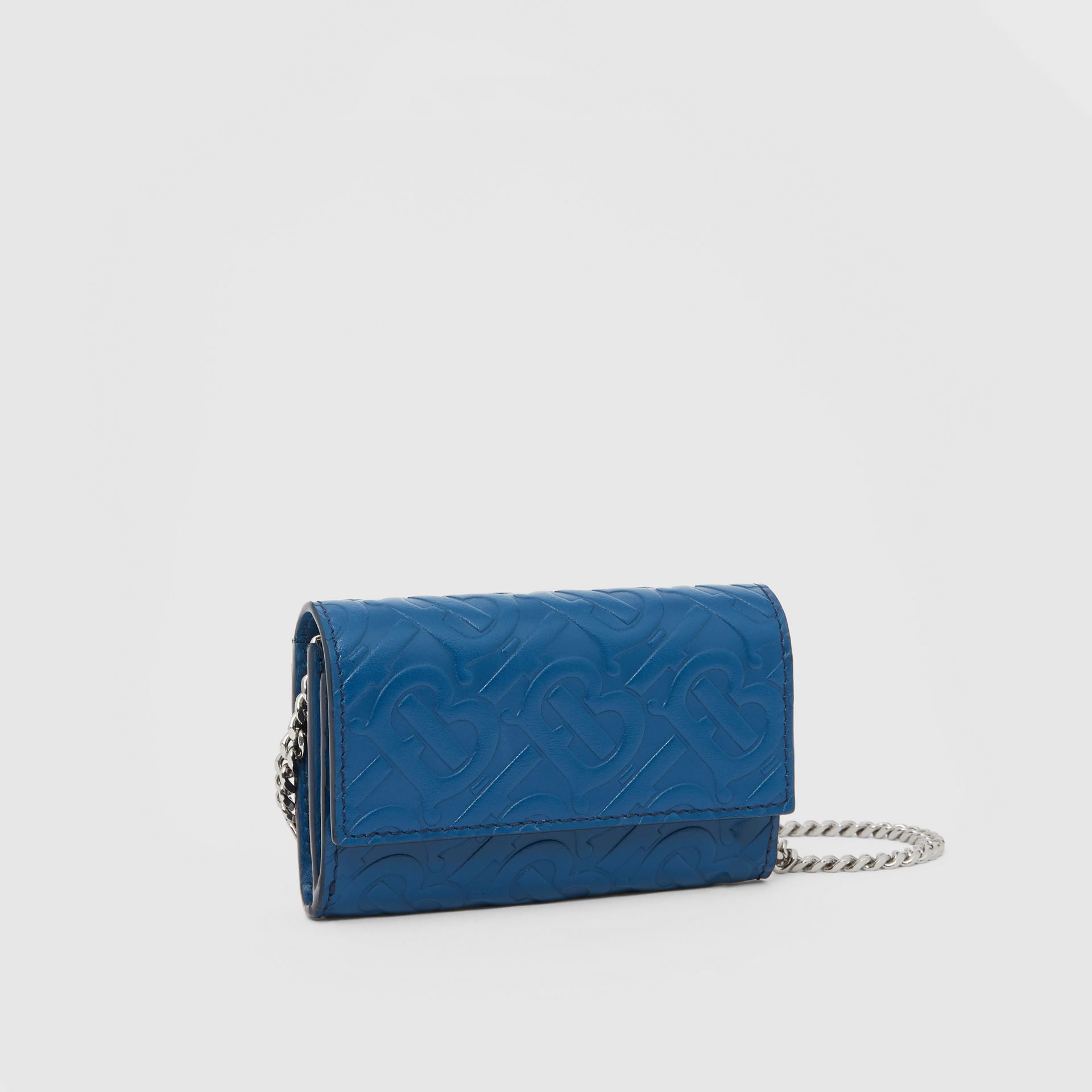 Small Monogram Leather Wallet with Detachable Strap in Pale Canvas Blue   Burberry Hong Kong S.A.R - gallery image 8