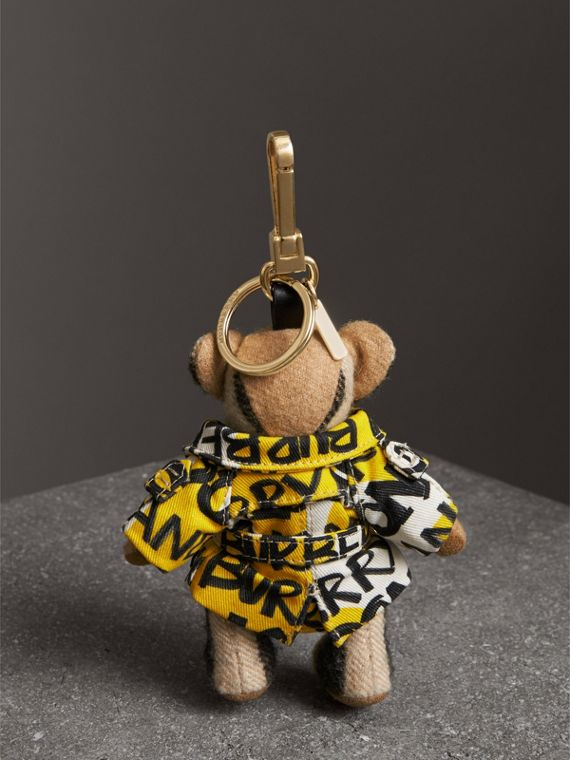 Thomas Bear Charm in Graffiti Print Trench Coat in Camel | Burberry Australia - cell image 3