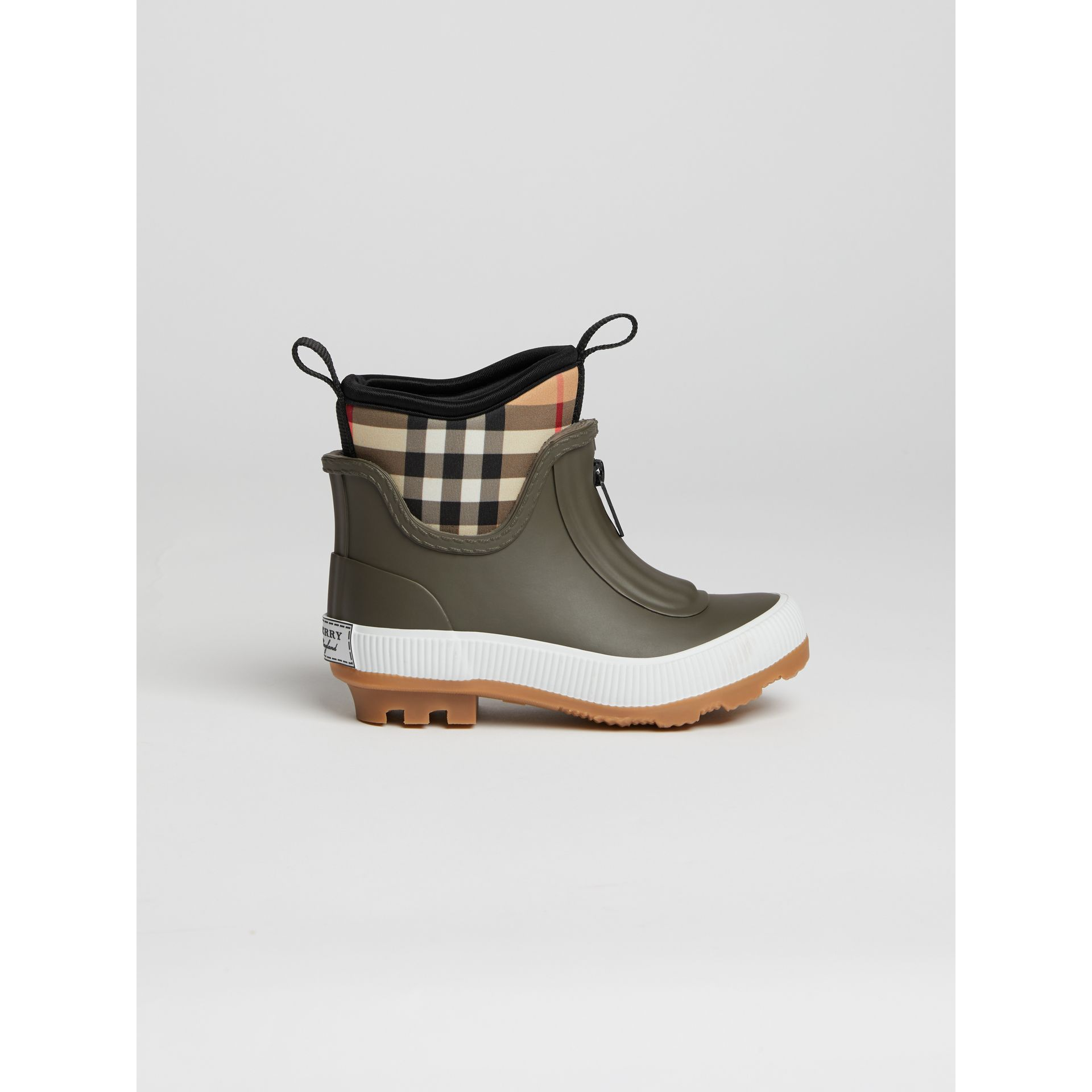 Vintage Check Neoprene and Rubber Rain Boots in Military Green | Burberry - gallery image 3