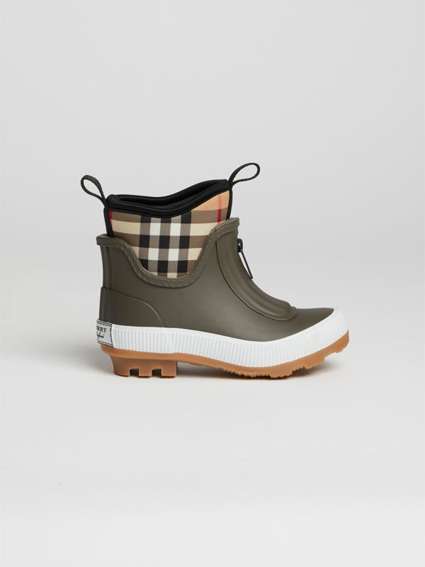 Vintage Check Neoprene and Rubber Rain Boots in Military Green | Burberry - cell image 3