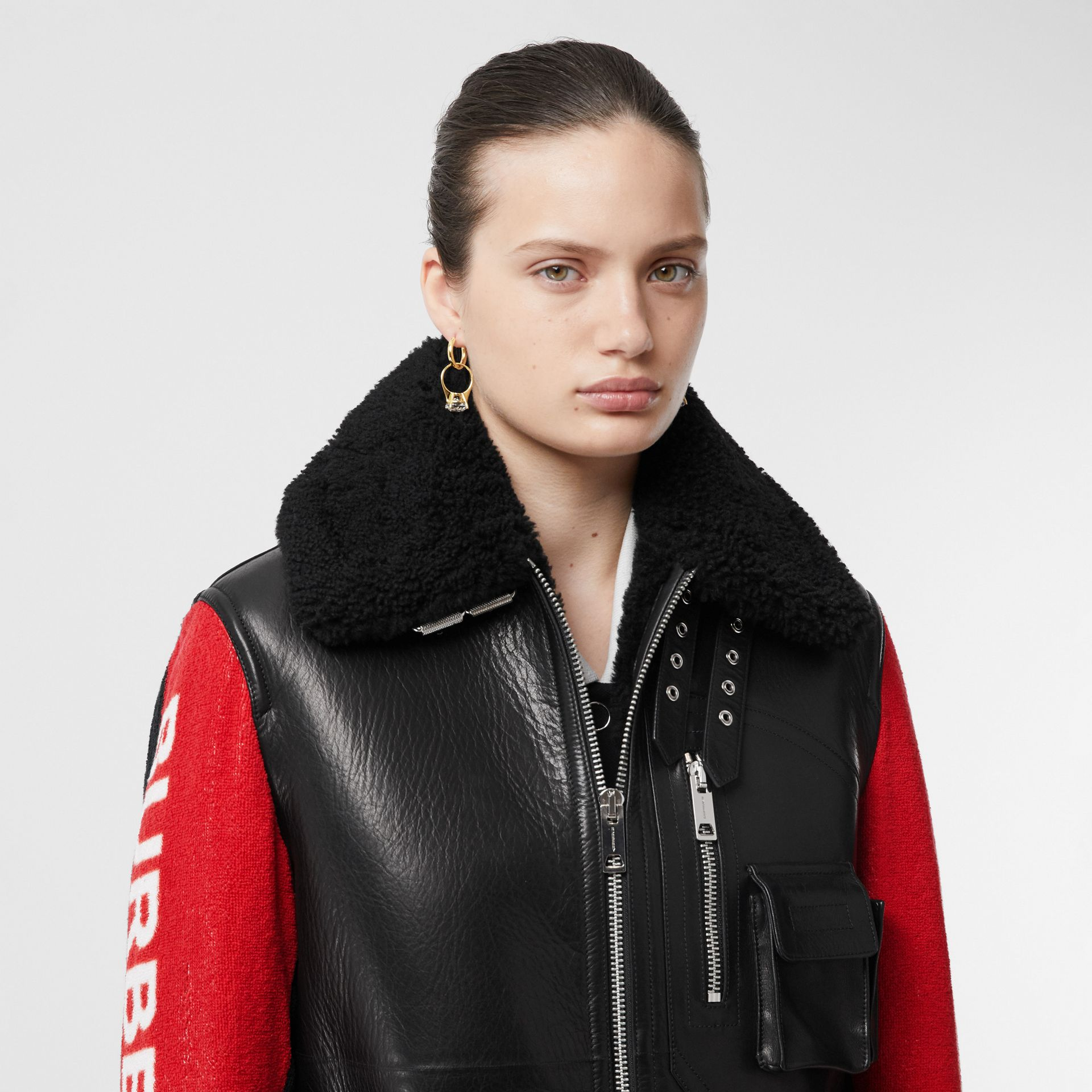 Contrast Sleeve Leather and Shearling Jacket in Black - Women | Burberry - gallery image 6
