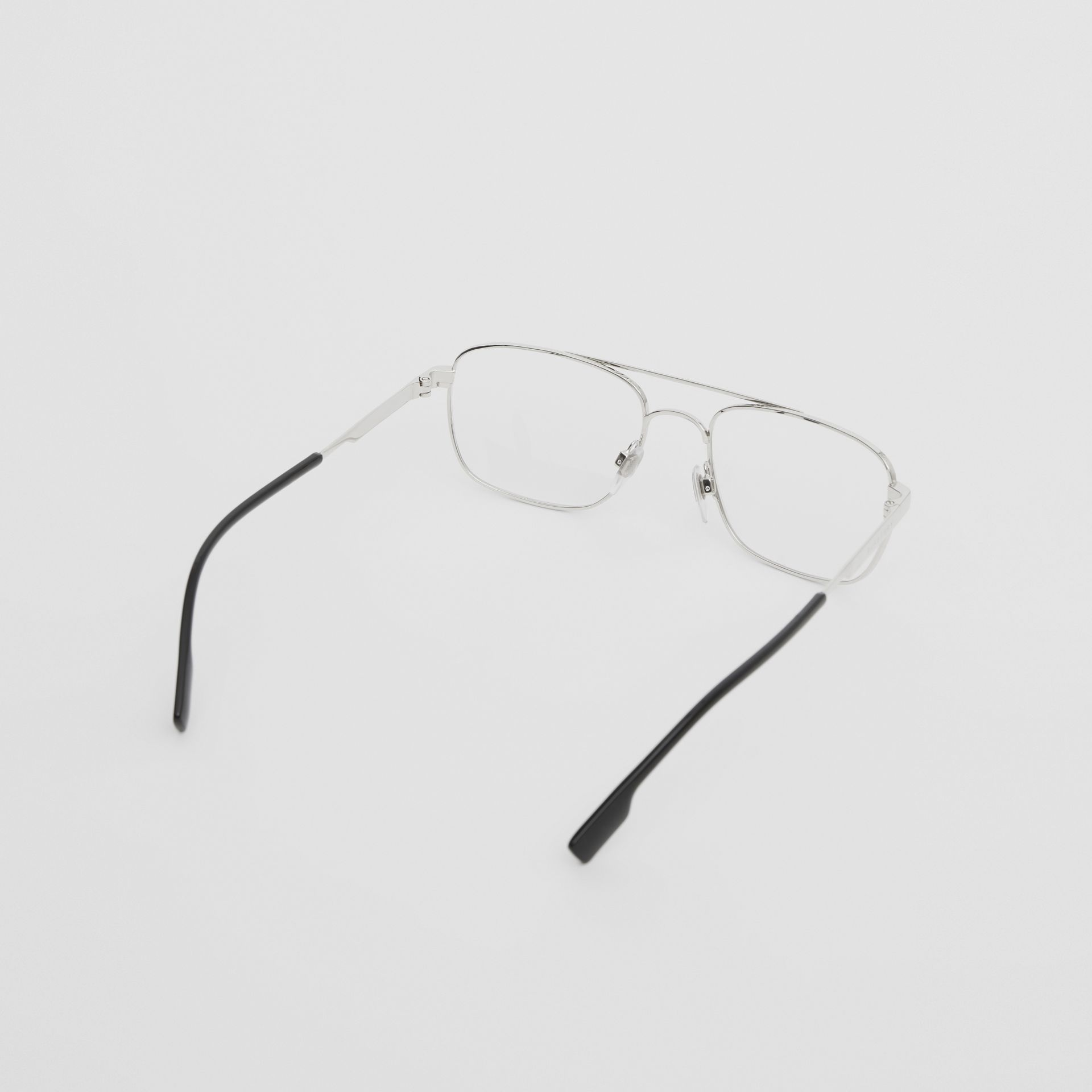 Rectangular Navigator Optical Frames in Silver | Burberry Canada - gallery image 4