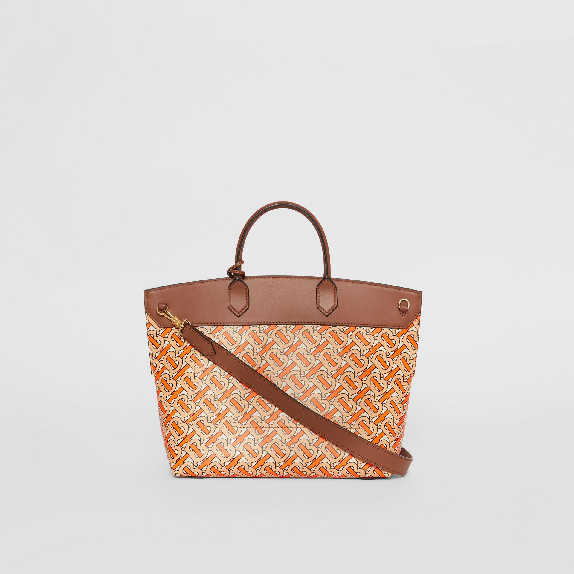 Small Monogram Print Leather Society Top Handle Bag in Bright Orange - Women | Burberry Canada - gallery image 7