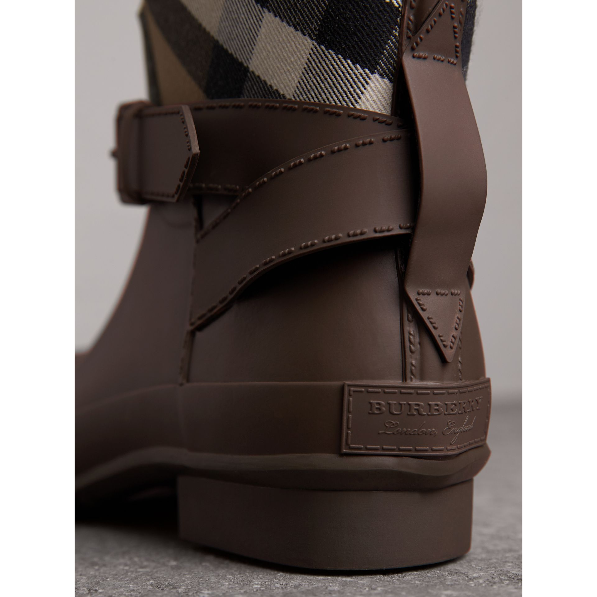Belt Detail House Check and Rubber Rain Boots in Bitter Chocolate - Men | Burberry - gallery image 2