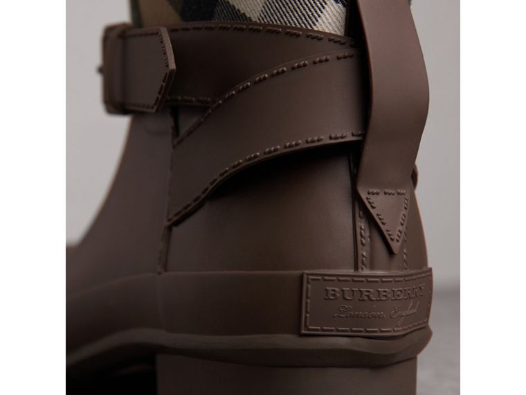 Belt Detail House Check and Rubber Rain Boots in Bitter Chocolate - Men | Burberry - cell image 1