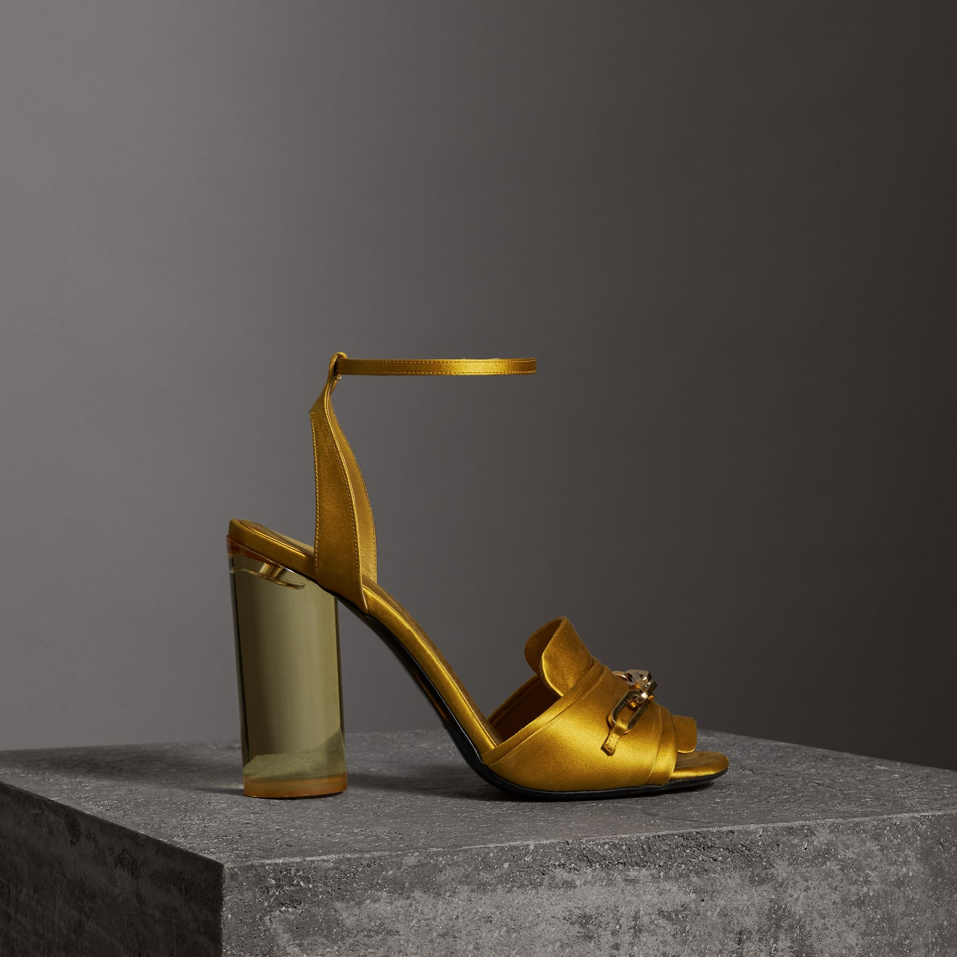 Link Detail Perspex Heel Satin Sandals in Antique Yellow - Women | Burberry - gallery image 0
