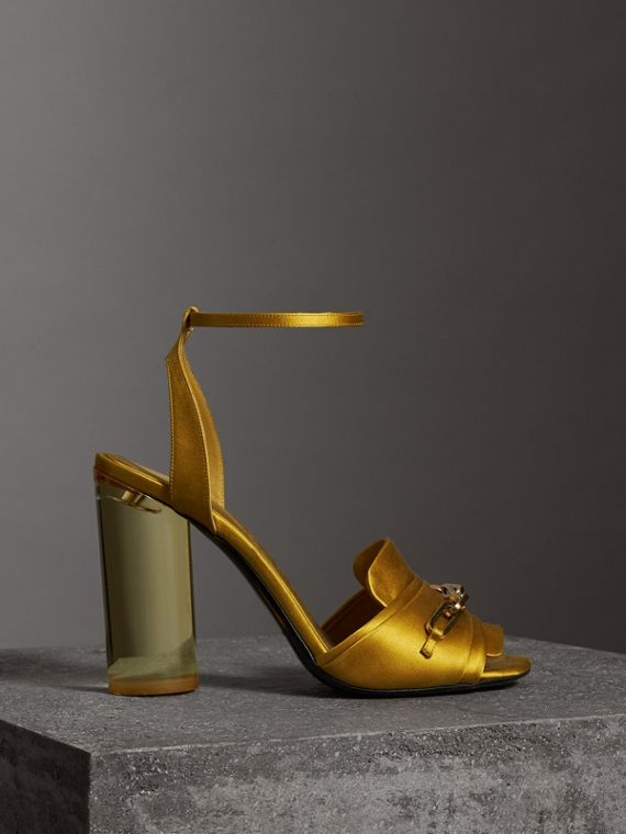 Link Detail Perspex Heel Satin Sandals in Antique Yellow
