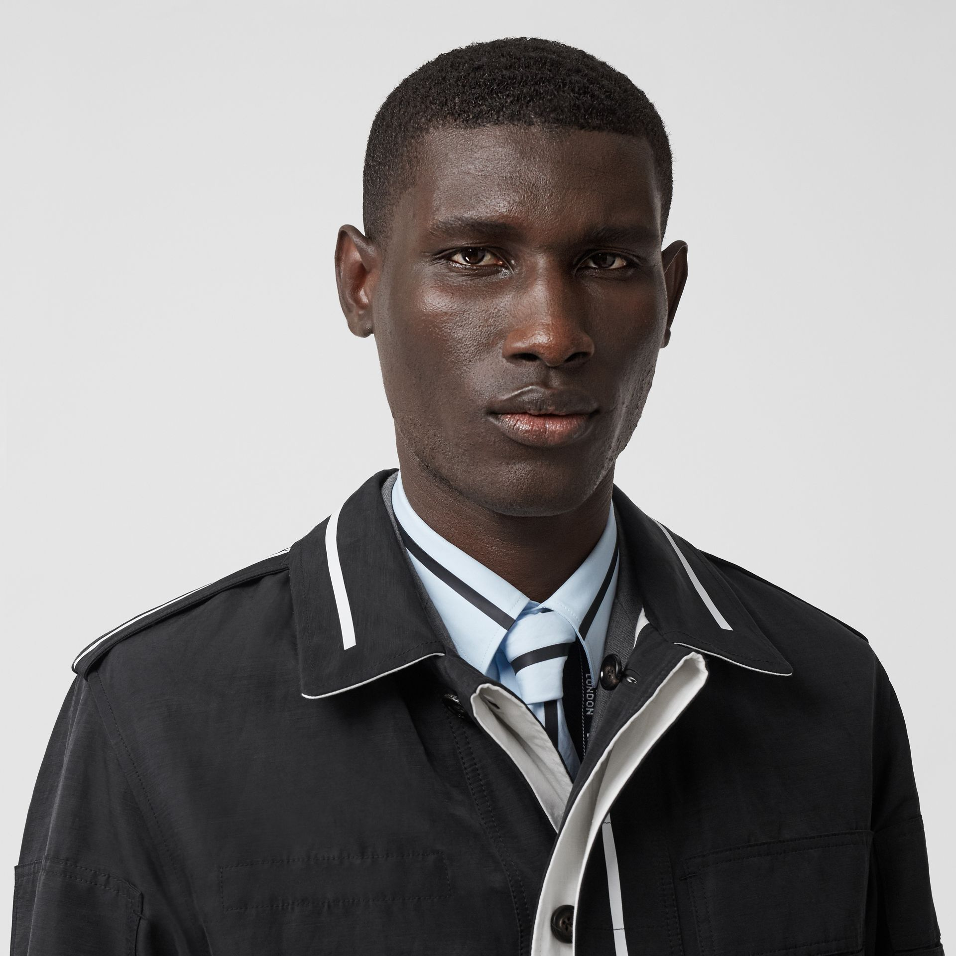 Reversible Striped Technical Linen Field Jacket in Black | Burberry - gallery image 1