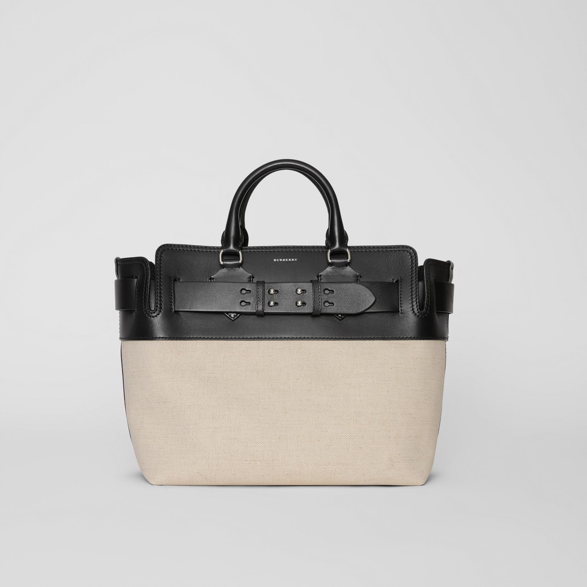 The Medium Canvas and Leather Belt Bag in Black/stone - Women | Burberry - gallery image 0