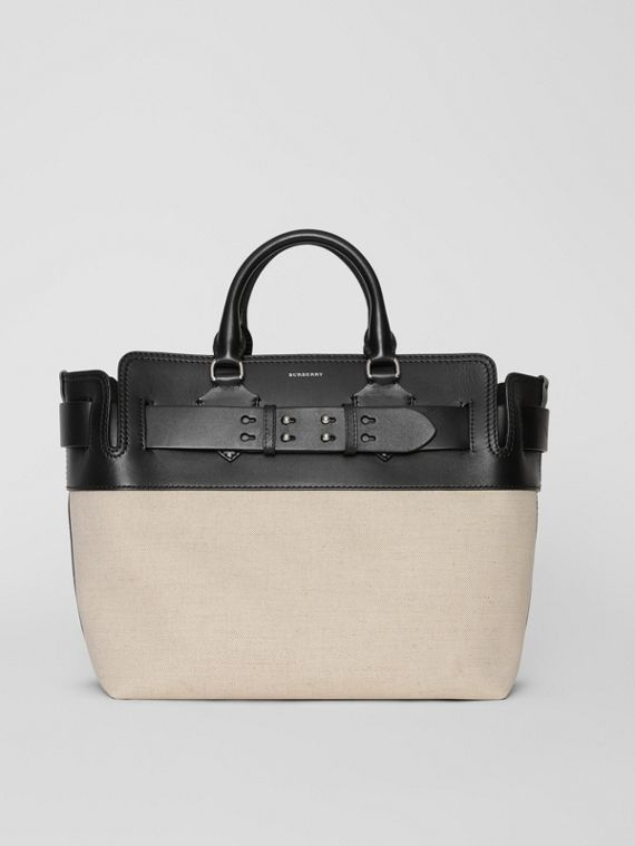 The Medium Canvas and Leather Belt Bag in Black/stone