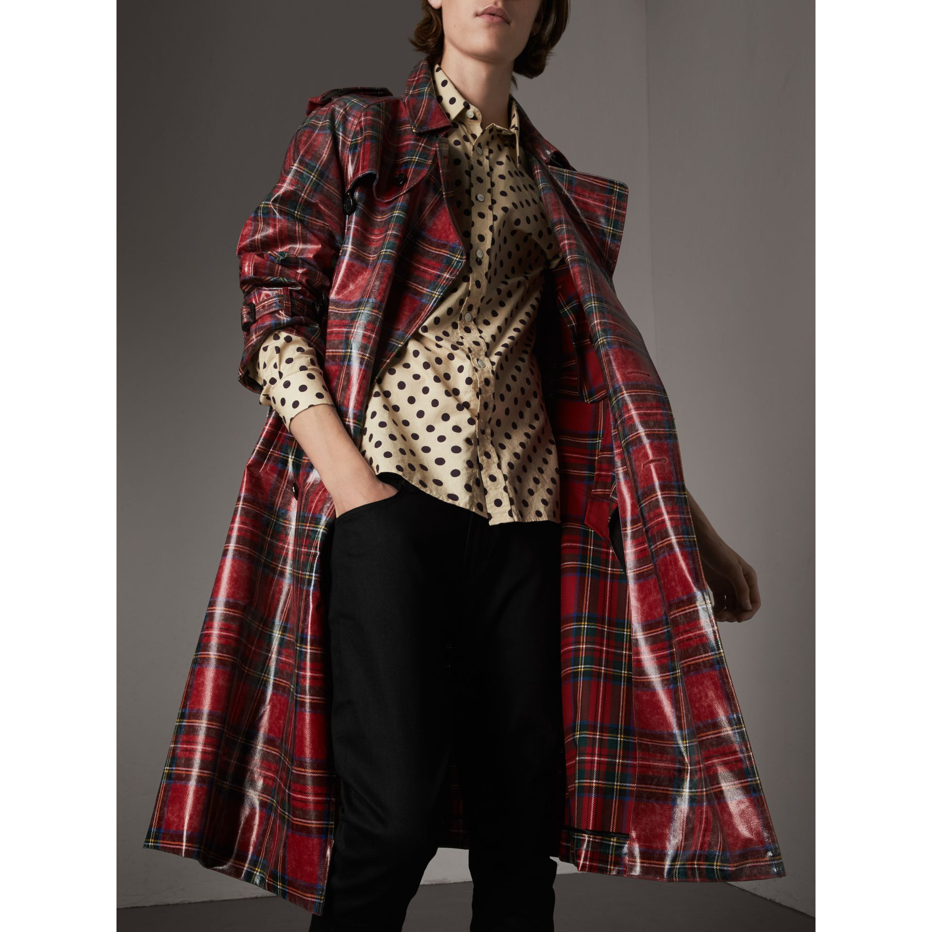 Laminated Tartan Wool Trench Coat in Bright Red - Men | Burberry - gallery image 5