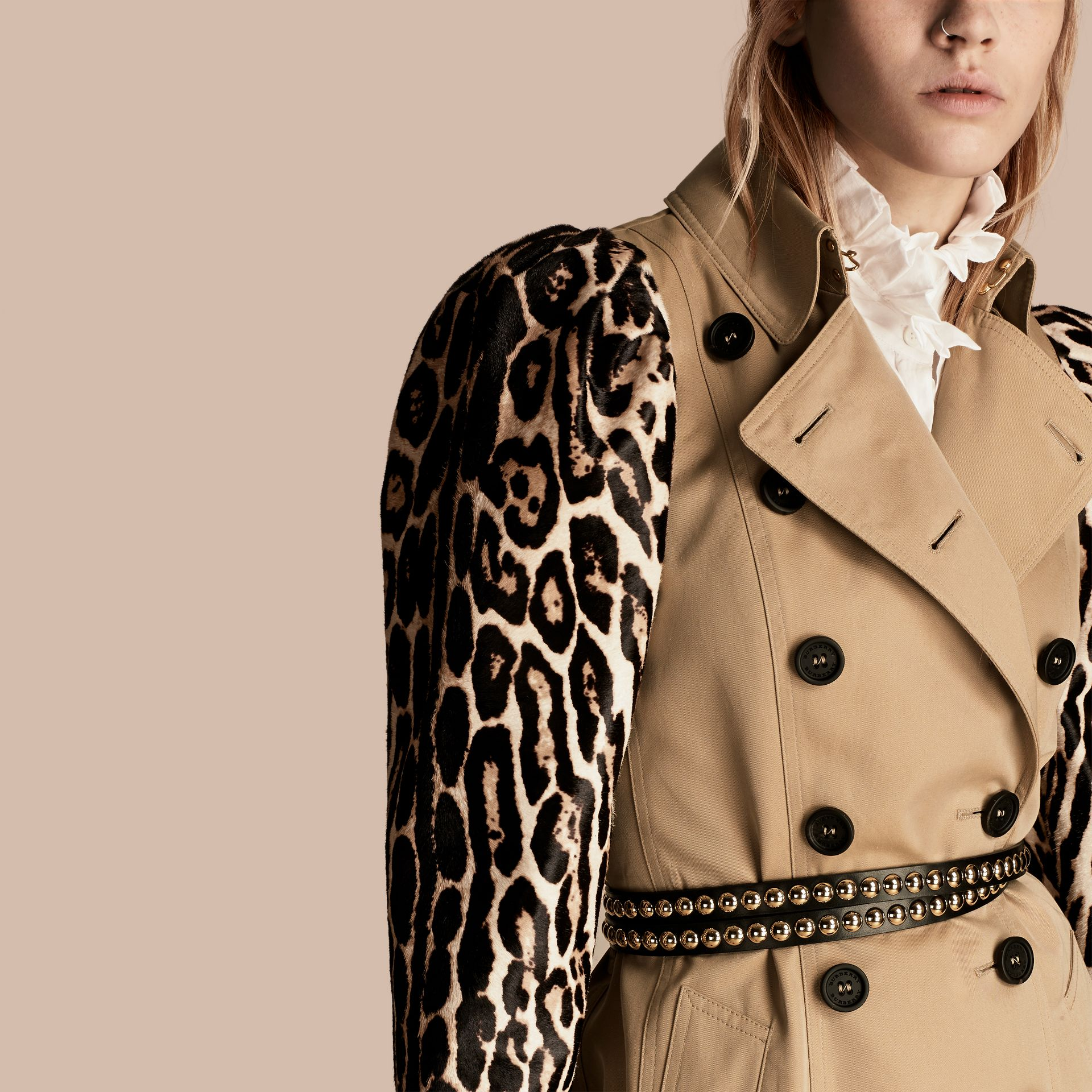 Honey Cotton Gabardine Trench Coat with Leopard-print Sleeves - gallery image 5