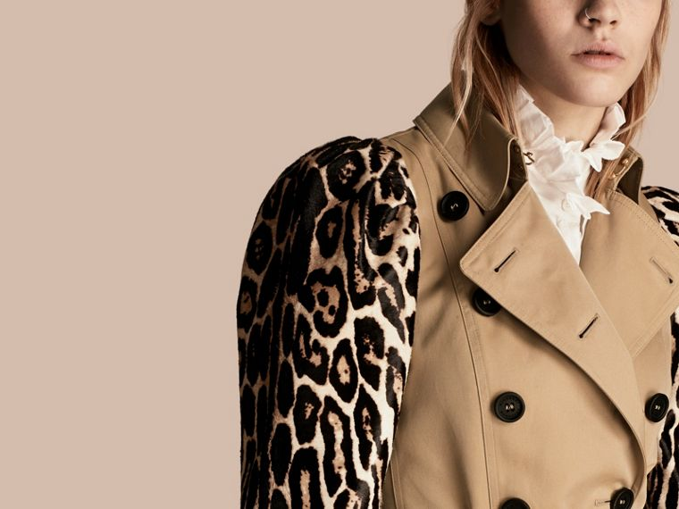 Honey Cotton Gabardine Trench Coat with Leopard-print Sleeves - cell image 4