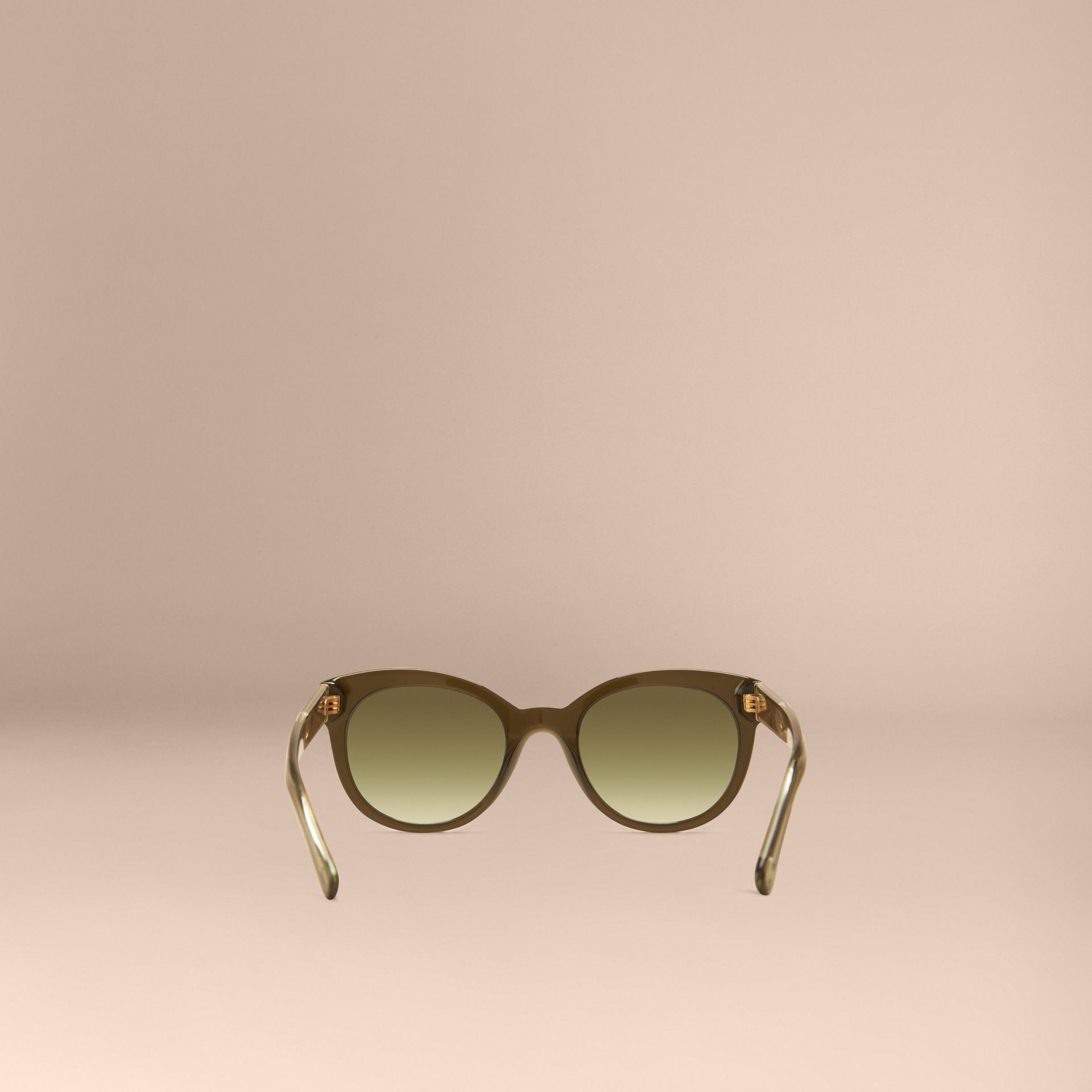 Olive Check Detail Oval Sunglasses Olive - gallery image 4