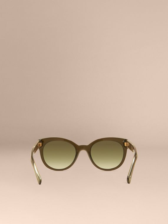 Olive Check Detail Oval Sunglasses Olive - cell image 3