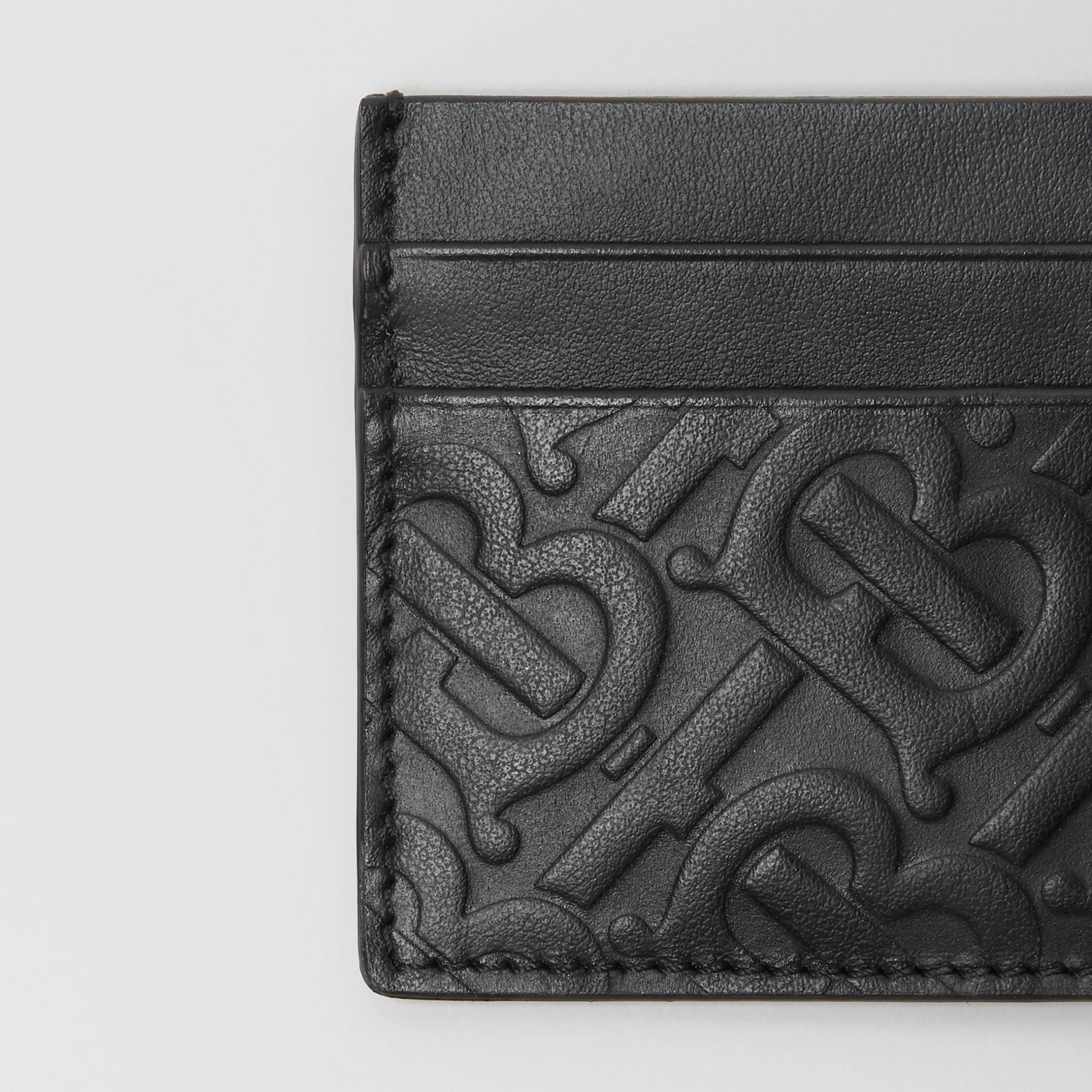 Monogram Leather Card Case in Black - Men | Burberry Singapore - gallery image 1
