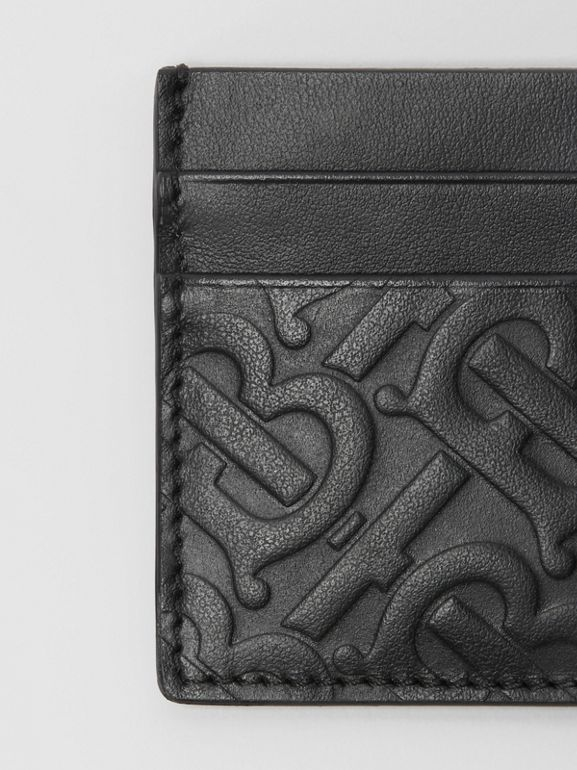 Monogram Leather Card Case in Black - Men | Burberry - cell image 1