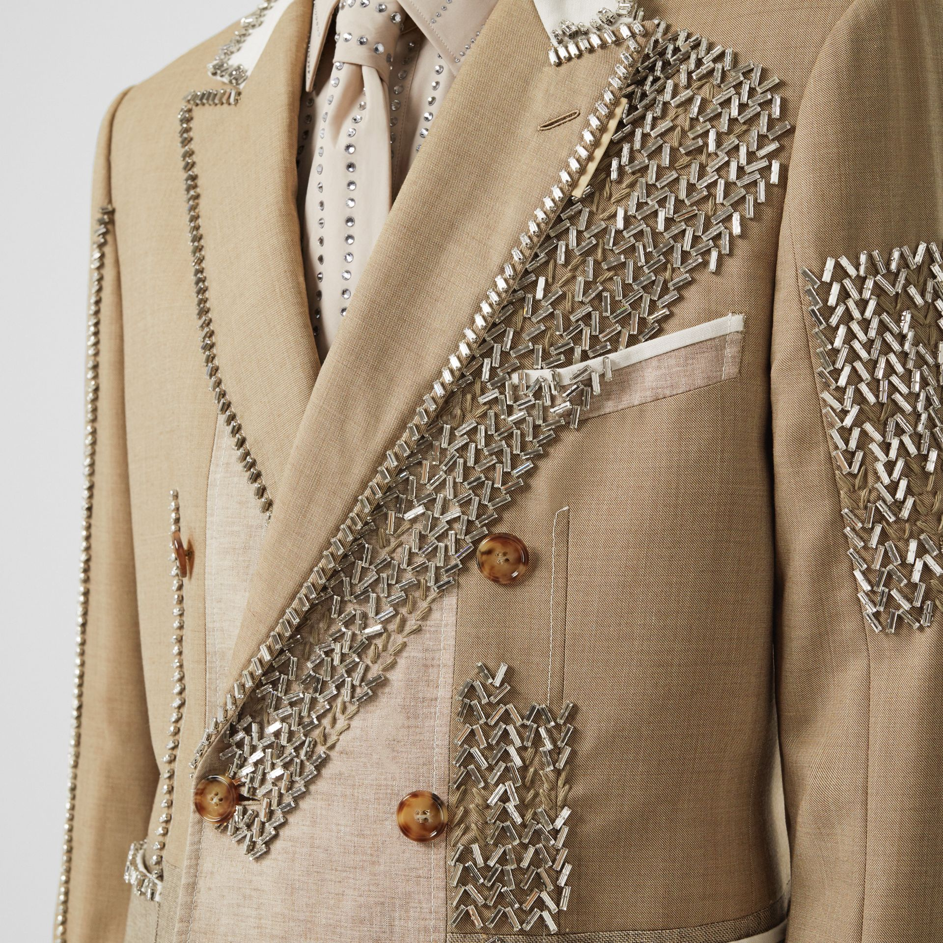 English Fit Crystal Embroidered Wool Cashmere Jacket in Pecan Melange | Burberry - gallery image 6