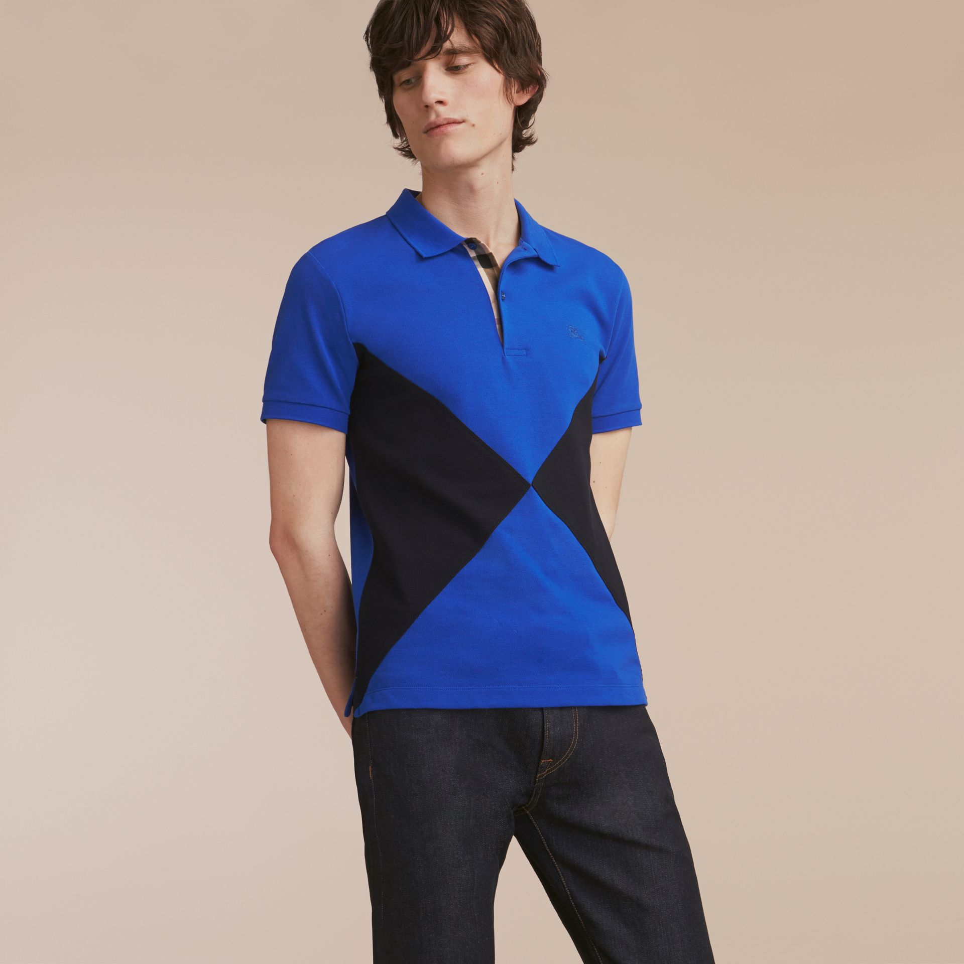 Geometric Motif Cotton Piqué Polo Shirt with Check Placket in Cobalt Blue - gallery image 6