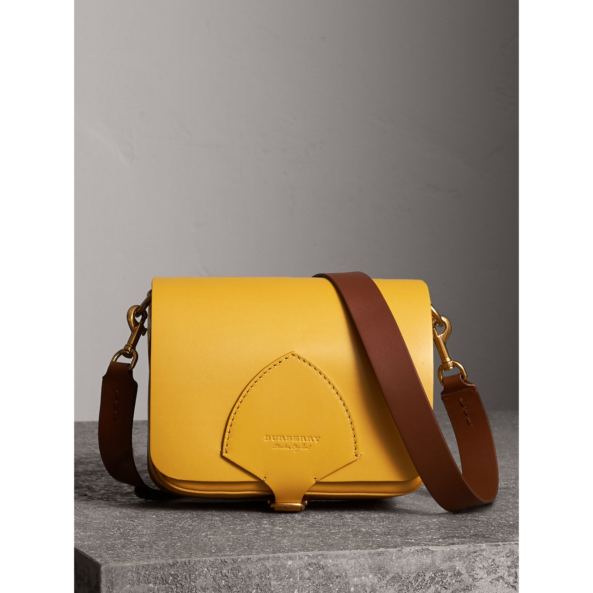 The Square Satchel in Leather in Larch Yellow - Women | Burberry United Kingdom - gallery image 0