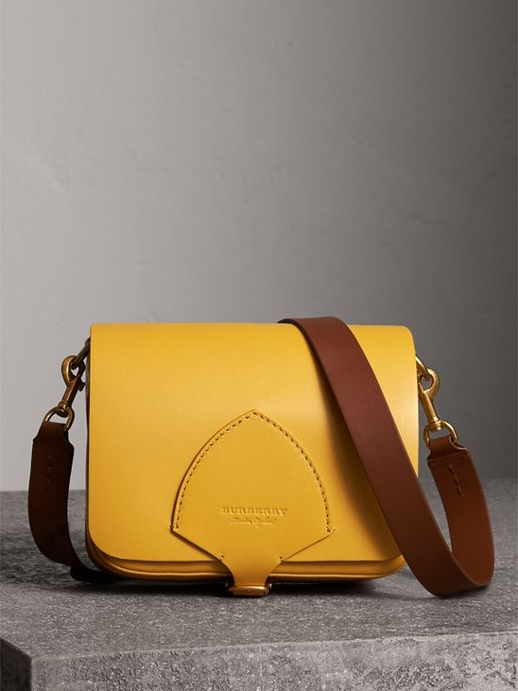 The Square Satchel in Leather in Larch Yellow