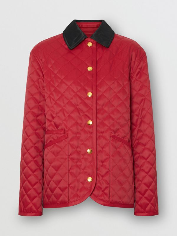Diamond Quilted Barn Jacket in Red - Women | Burberry - cell image 3