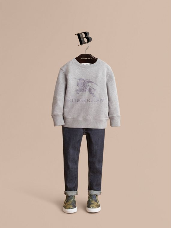 Embroidered Cotton Jersey Sweatshirt in Grey Melange - Boy | Burberry