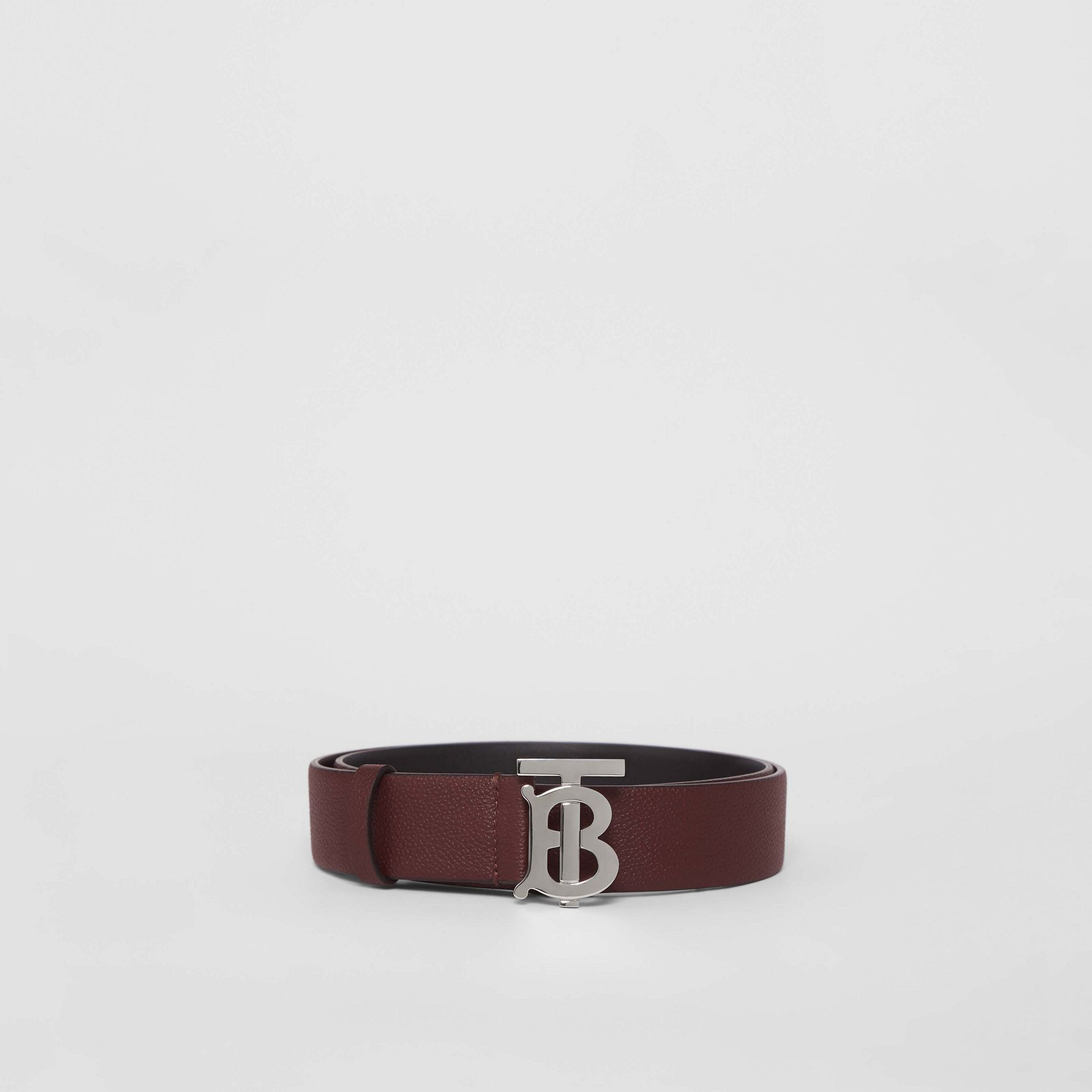 Monogram Motif Leather Belt in Oxblood - Men | Burberry - gallery image 3