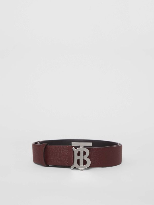 Monogram Motif Leather Belt in Oxblood - Men | Burberry - cell image 3