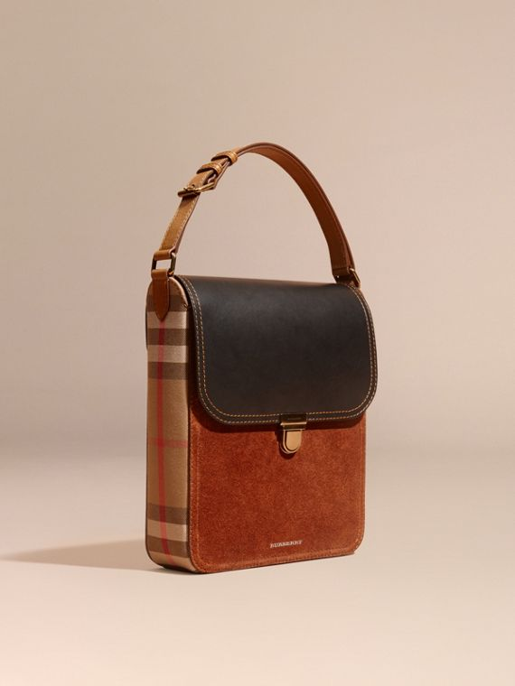 The Satchel media in pelle con motivo House check