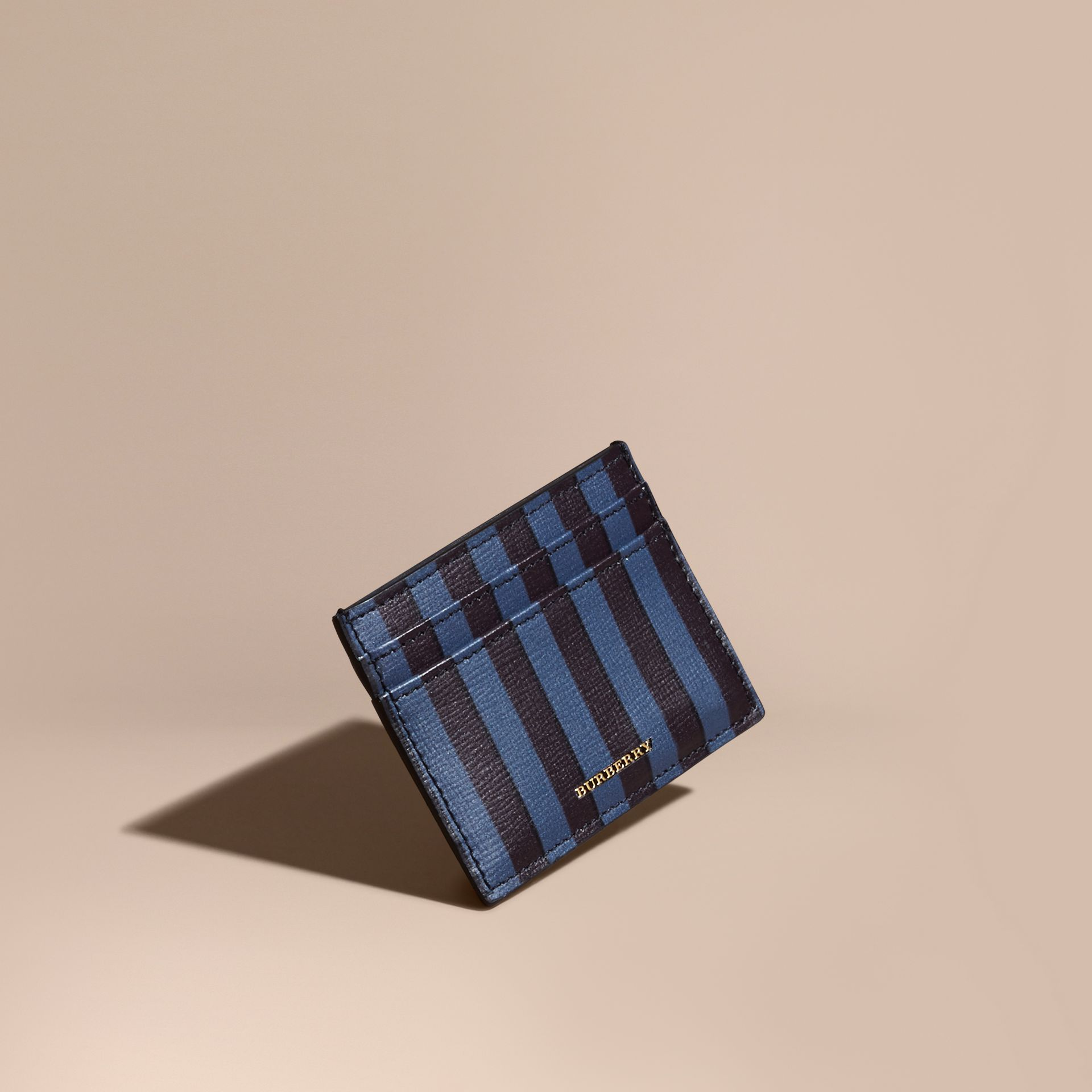 Navy Pyjama Stripe London Leather Card Case Navy - gallery image 1