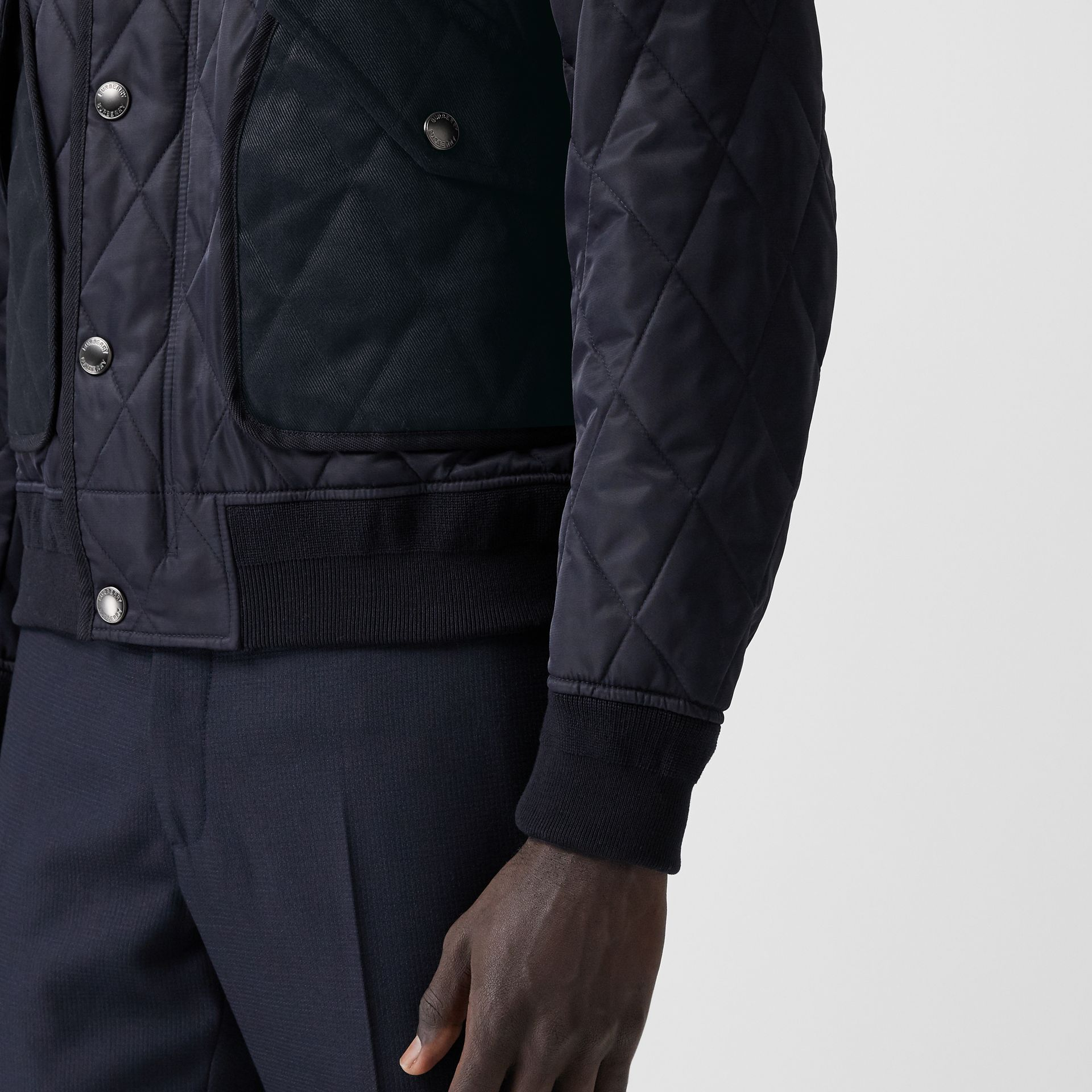 Diamond Quilted Thermoregulated Jacket in Navy - Men | Burberry - gallery image 5