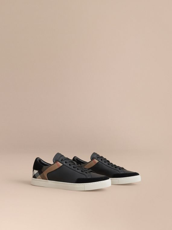 Leather and House Check Trainers in Black - Men | Burberry