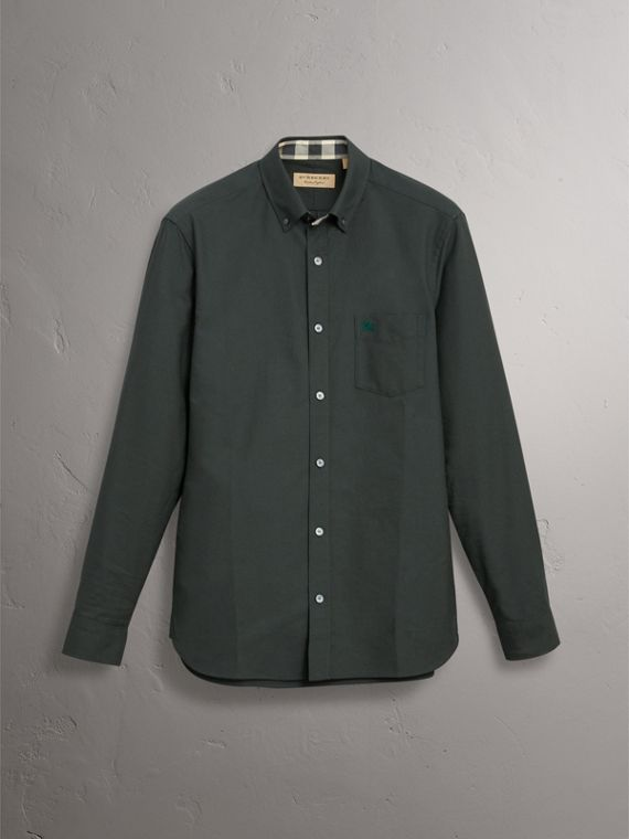 Check Detail Cotton Oxford Shirt in Dark Forest Green - Men | Burberry United Kingdom - cell image 3