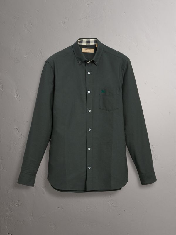 Check Detail Cotton Oxford Shirt in Dark Forest Green - Men | Burberry - cell image 3