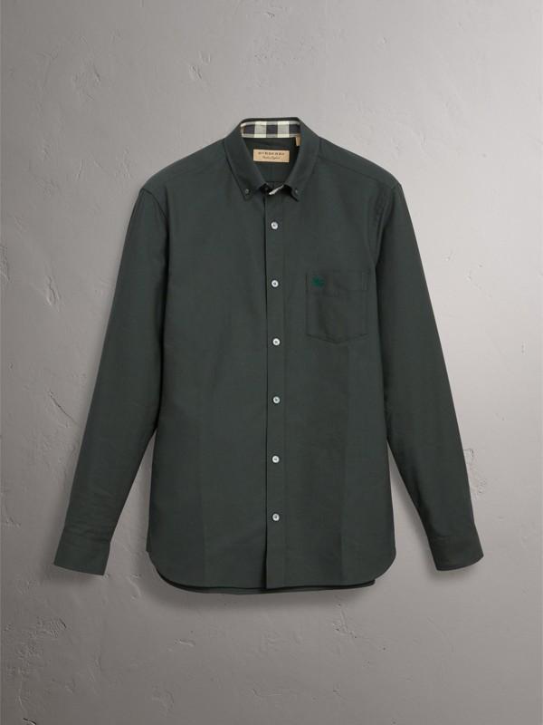 Camicia Oxford in cotone con dettagli tartan (Verde Foresta Scuro) - Uomo | Burberry - cell image 3